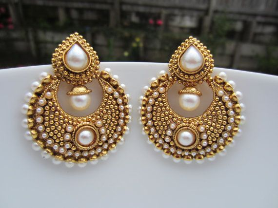 Gold Pearl Chandbalis Gold Chaandbalis Indian Jewelry by Alankaar, $26.00