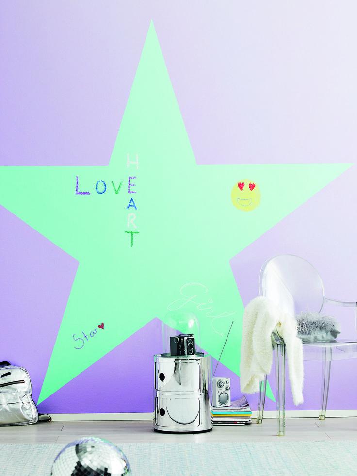 Tikkurila Kids Style - pokój dziewczęcy z wykorzystaniem farby tablicowej Tikkurila Liitu