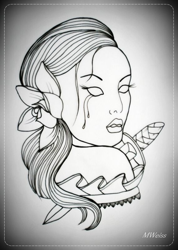 Top Skull Girl Tattoo Outline Images for Pinterest Tattoos