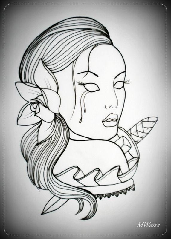 Flash Tattoos Skull Rose Outline Oldskulllovebymw