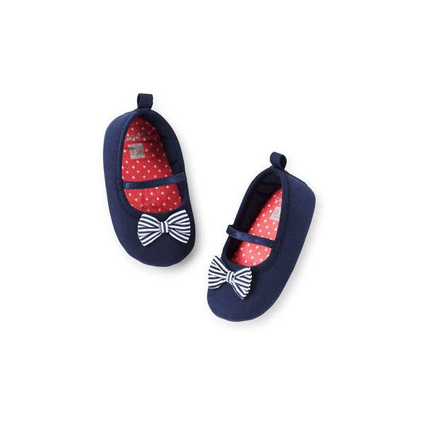 Carter's Bow Mary Jane Crib Shoes (77 GTQ) ❤ liked on Polyvore featuring kids, baby and baby girl