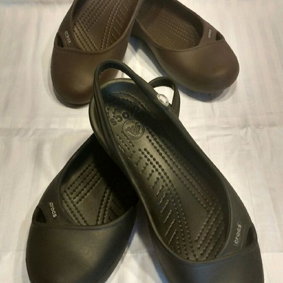 Crocs Ballet Flats (2 pairs available) Black pair and chocolate brown pair of Crocs Ballet Flats. Sling back with a rhinestone accent. Perfect for being on your feet all day, but still comfy! Worn only a few times.  Priced per pair, selling individually, not as a set CROCS Shoes Flats & Loafers