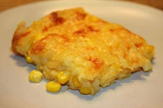 Photo: I love this recipe. I saw it on Paula Dean's show and have been making it ever since..... Corn casserole: 1 (15 oz) can whole kernel corn, drained 1 (15 oz) can cream-style corn 1 package Jiffy corn muffin mix (8 oz.) 1 cup sour cream 1/2 cup butter, melted 1 cup shredded cheddar cheese or your favorite Preheat oven to 350 degrees. mix all ingredients, minus the cheese, together and pour into a greased baking dish. After the casserole has baked for 45 minutes, or is set in the middle…