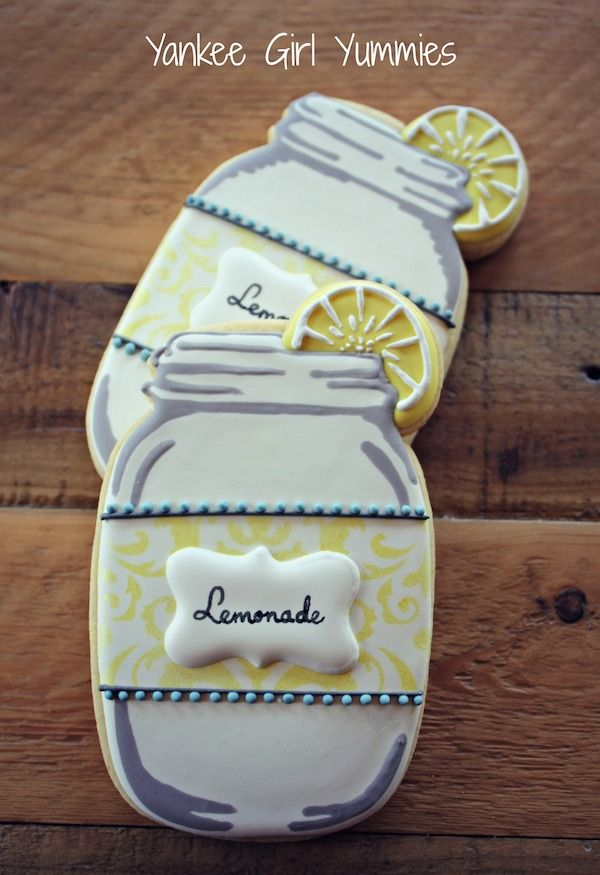 Lemonade cookie~ by Yankee Girl Yummies, yellow, mason jar