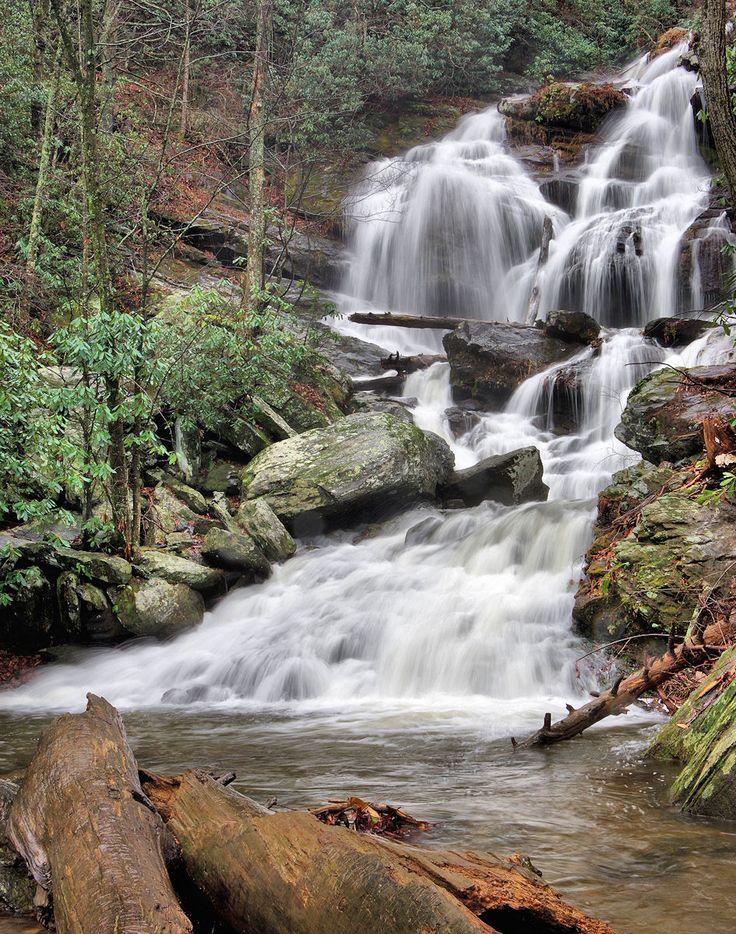 Catawba Falls in Pisgah National Forest near Asheville, North Carolina, 100-foot waterfall and hiking trail