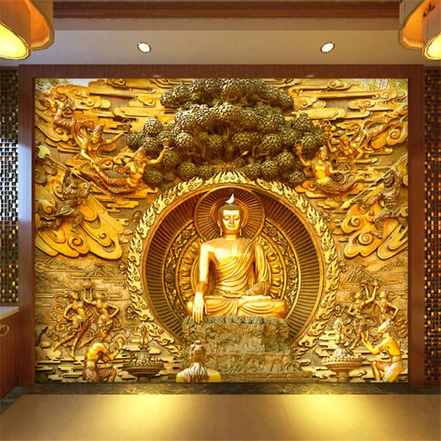 Best Beibehang Golden Buddha Buddhist Temple Mural Custom Large 400 x 300