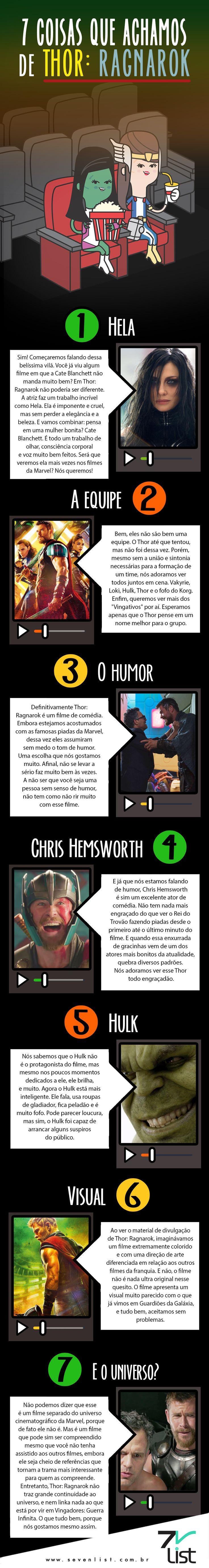Hoje estreia um dos filmes mais esperados do ano para os nerds de plantão. Nós já assistimos e preparamos um post especial. Confira 7 coisas que achamos de Thor: Ragnarok. #SevenList #Infográfico #Infographic #Lista #List #Ilustração #Illustration #Design  #Thor #ThorRagnarok #Marvel #Superheroes #Superheróis #Filme #Cinema #Estreia #Quadrinhos #Hulk #Disney #Resenhafilme #Novidade