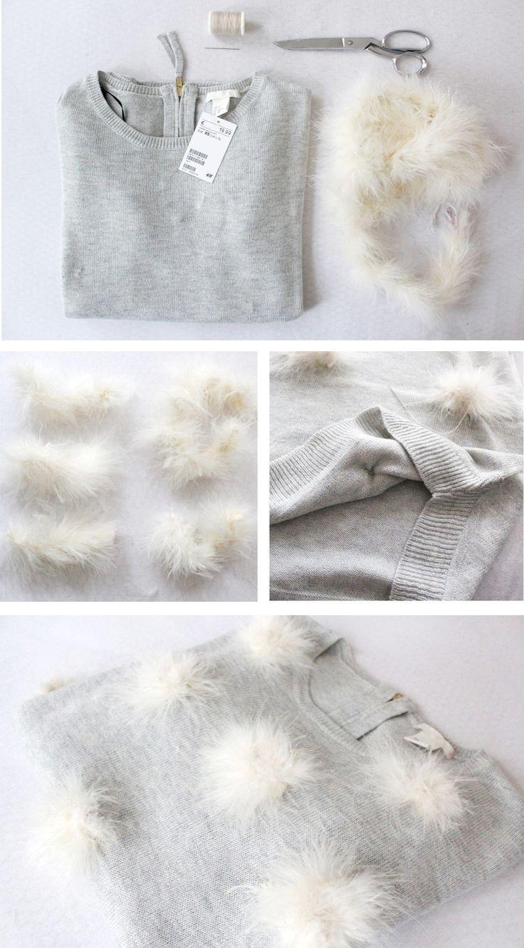 DIY Anleitung zum Selbermachen: Verzierter Pompon Pullover