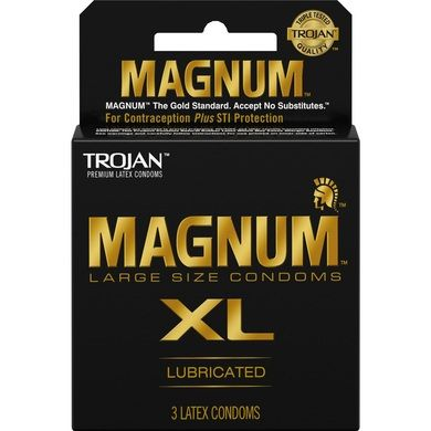 Trojan Magnum Xl - 3 Pack condoms are intended for men who feel that regular and large size condoms are too small. Other men may experience slippage with this extra large size condom. Larger than original Magnum, 30% larger for extra comfort. Special reservoir tip for extra safety. Tapered at the base for a secure fit. Silky smooth lubricant for comfort & sensitivity.