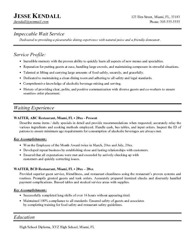 381 best Free Sample Resume Tempalates Image images on Pinterest - waiter resumes