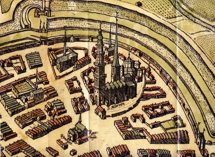 detail of a old map of Groningen
