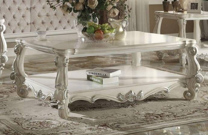 Bone White Coffee Table Set 3 Pcs 82123 Versailles Acme Carved