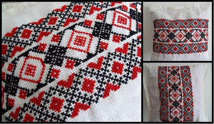 Cross stitch pillow with romanian traditional motifs. https://www.facebook.com/alexandra.happyart?fref=photo