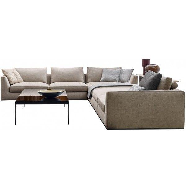 Richard B&B Italia Sofa ❤ liked on Polyvore featuring home, furniture, sofas, b&b italia furniture, black sofa, ebony furniture, chrome furniture and black couch