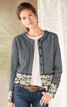 Our embellished tweed jacket will finish any look with sophisticated, feminine style.