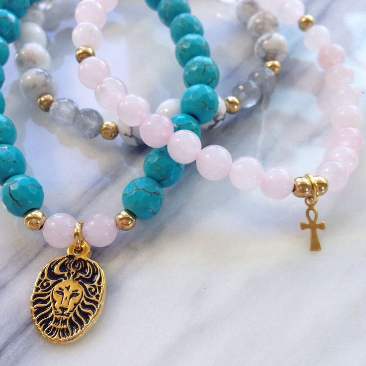 """Beautiful Rose Quartz,  Turquoise and Howlite  """"Inner Peace"""" Lionheart Bracelet Stack by #MikaMalaPride. Feel calm and protected as you radiate compassion, gratitude and peace."""