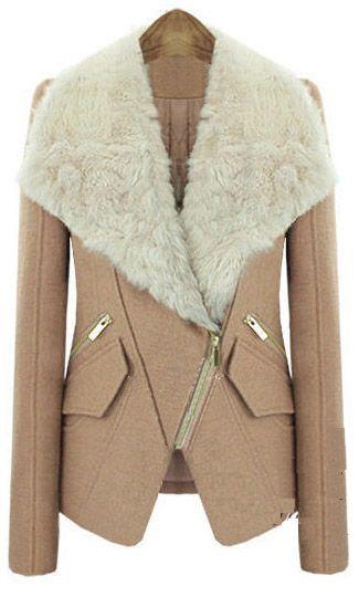 Camel Long Sleeve Fur Lapel Oblique Zip Coat