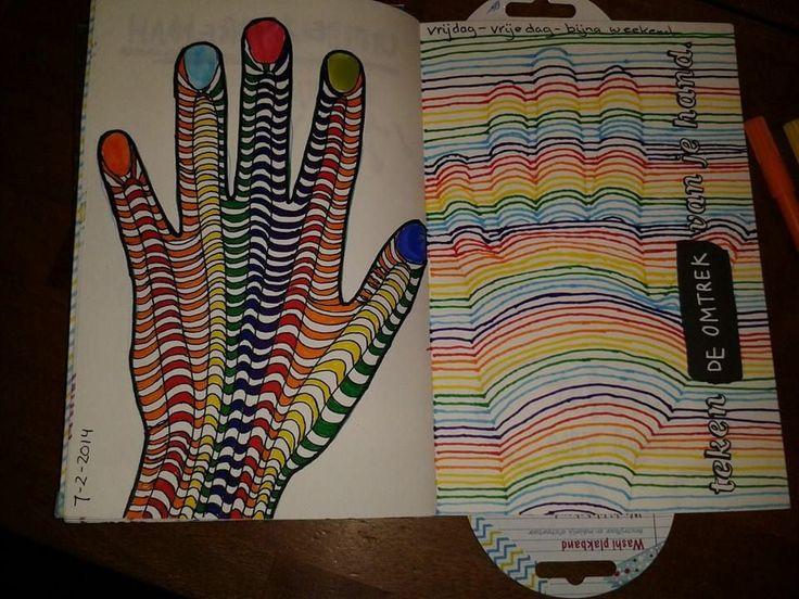 wreck this journal - omtrek van je hand