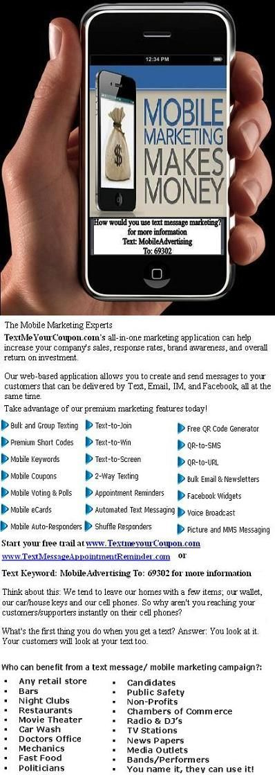 Start your mobile marketing campaign (text message marketing). Free trial and plans starting at $49 per month