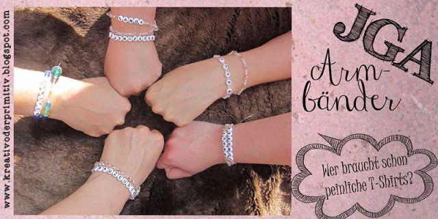 JGA Junggesellenabschied Armband Armkette Blume Haar T-Shirt Gruppe Erkennung Zeichen Perlen selber machen billig alternative stoff kette wedding arm bridge