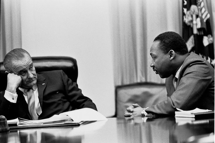 President Lyndon Johnson meets with Martin Luther King in the White House Cabinet Room in 1966. April's summit will highlight the changes that the civil rights movement brought to America.