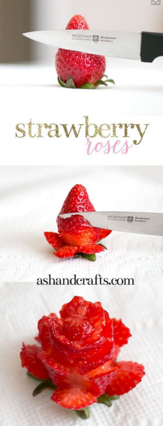 For a wedding shower or formal party, add some elegance to the fruit tray or dessert table with these DIY strawberry roses. In just a few simple steps, you'll have a pretty element that will uplift any dessert spread.                                                                                                                                                                                 More