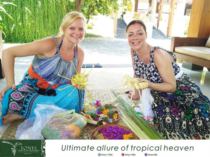 Nice to share our culture and tradition with you Mrs. Debbie and Ms. Stefanie. Thank you for joining Balinese activity today.   Have a nice day... . . . #bali #seminyak #tonysvilla #culture #tradition #Balinese #activity #balineseactivity #friends #balimagic #offering #holiday #vacation #triptobali   www.balitonys.com