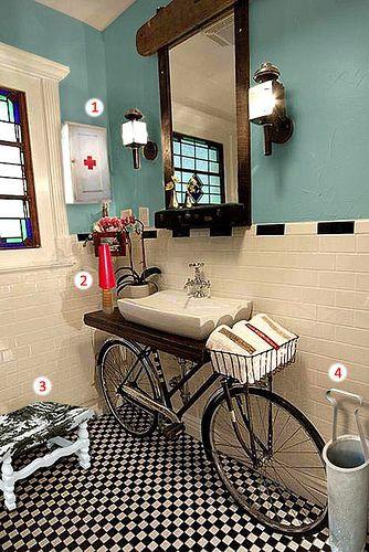 Banheiro Vintage Industrial  1) Armário Primeiros Socorros -Vendido!  2) Luminária Carretel  3) Banqueta Provence  4) Porta-Objetos Aluminum