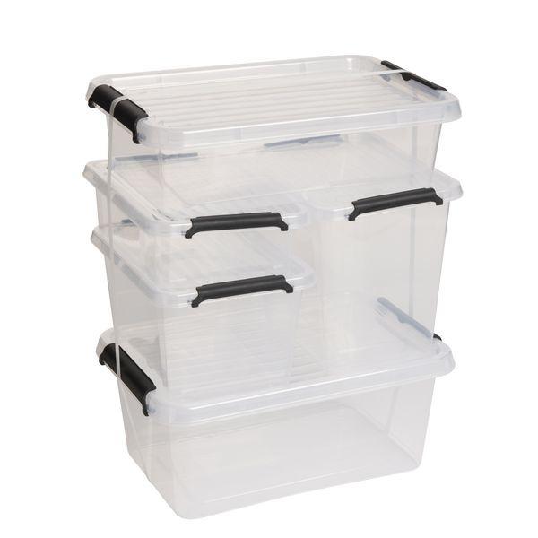 5-pack förvaringsboxar i plast med lock. Storlek: 4,5 l=20x29x12 cm + 3,1 l=20x29x8 cm + 3 l=15x19,5x16 cm + 2 l=15x19,5x11 cm och 1,15 l=15x19,5x6 cm. Rusta.se