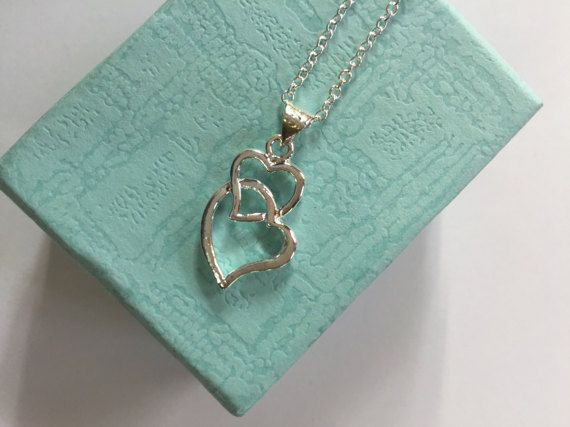 Two Hearts Silver Necklace Women Silver Necklace by natosgi