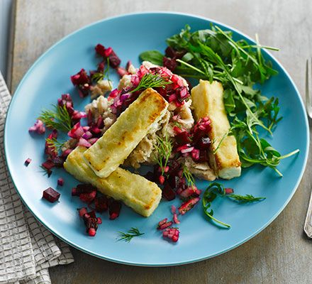 Whip up this budget vegetarian dinner in minutes - pile slices of light feta onto cannellini bean mash and top with tangy beetroot salsa