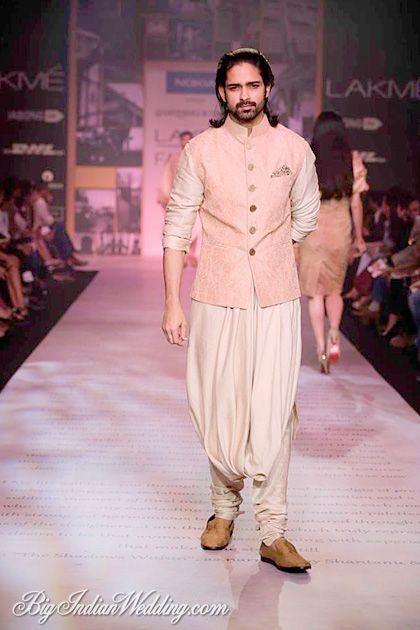 An amazing pastel Scherwani for the groom.Shantanu Nikhil at lakme Fashion Week 2014