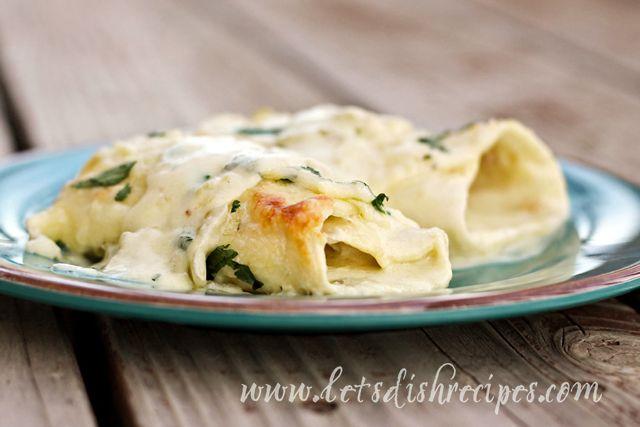 White Chicken Enchiladas with Green Chile Sour Cream Sauce | Recipe