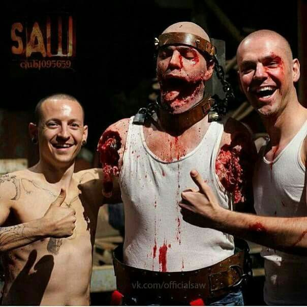 Chester on the set of SAW VII with co-star and Propdummy.