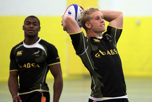 SA 7's rugby training; Kyle Brown line out
