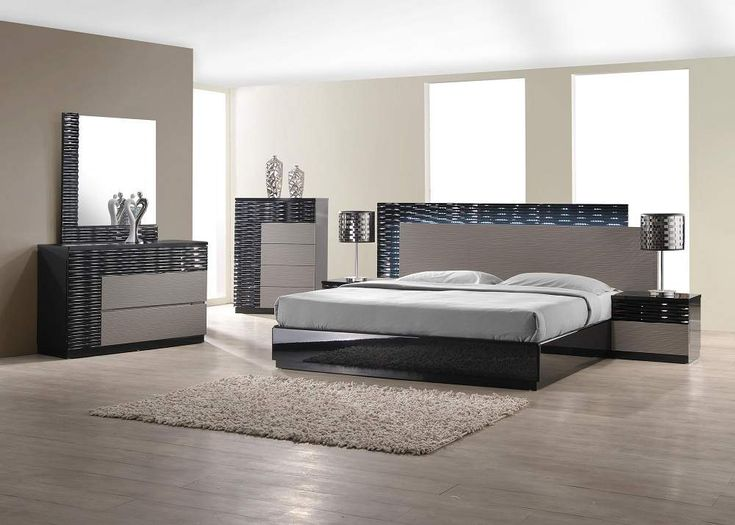 4 Pc Romania Black Lacquer Finish Wood Modern Style Queen Bed Set With Zebra Gray Accents Includes The Frame Grey