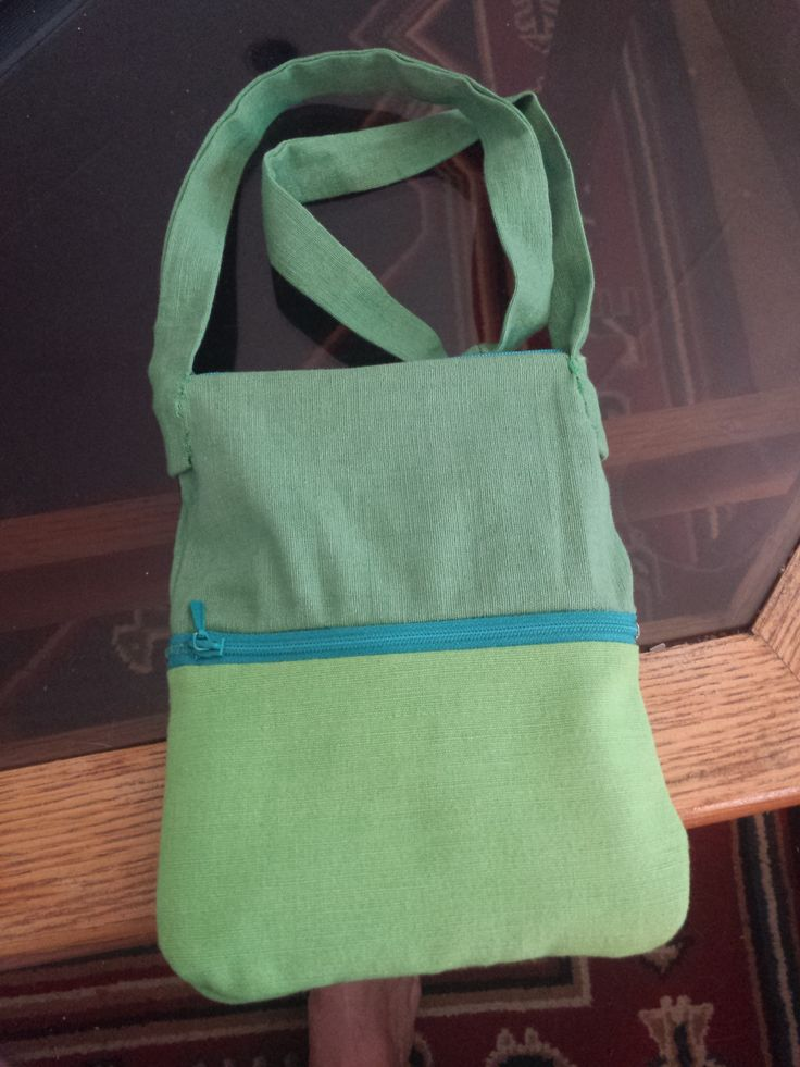 Two Colour Green Hand Bag