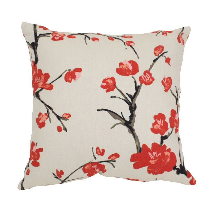 This decorative 'Flowering Branch' pillow from Pillow Perfect is sure to make a great accent in any room. Red cherry blossoms bloom against a beige background of this sophisticated throw pillow.