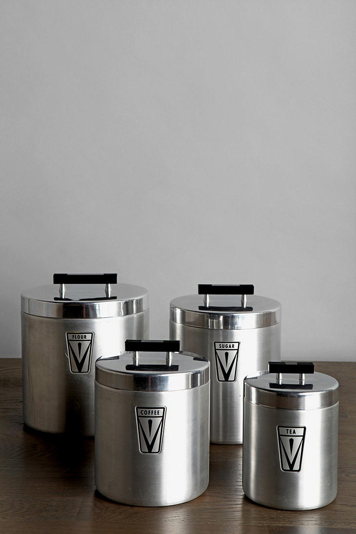 321 best kitchen cannisters images on pinterest kitchen vintage aluminum canister set of 4 urbanoutfitters