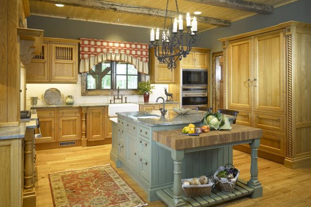 Country French White Yellow And Blue Kitchens