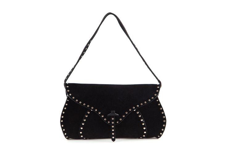 C��line Poulbot Black Suede Studded Shoulder Bag   LOVEthatBAG ...