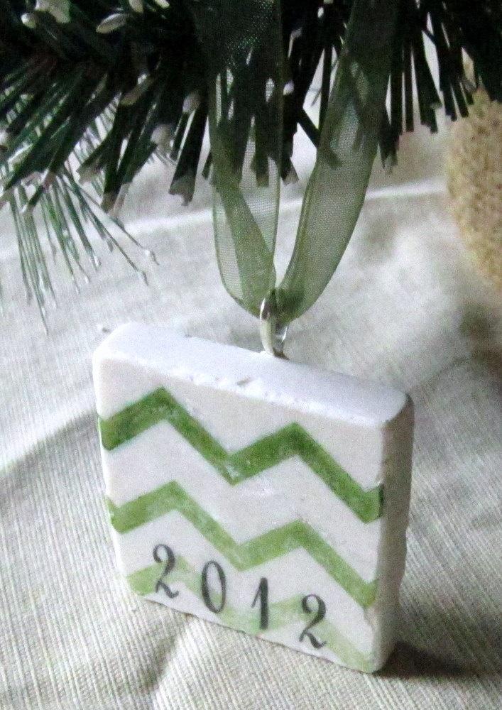 2012 Christmas Ornament, Green Chevron