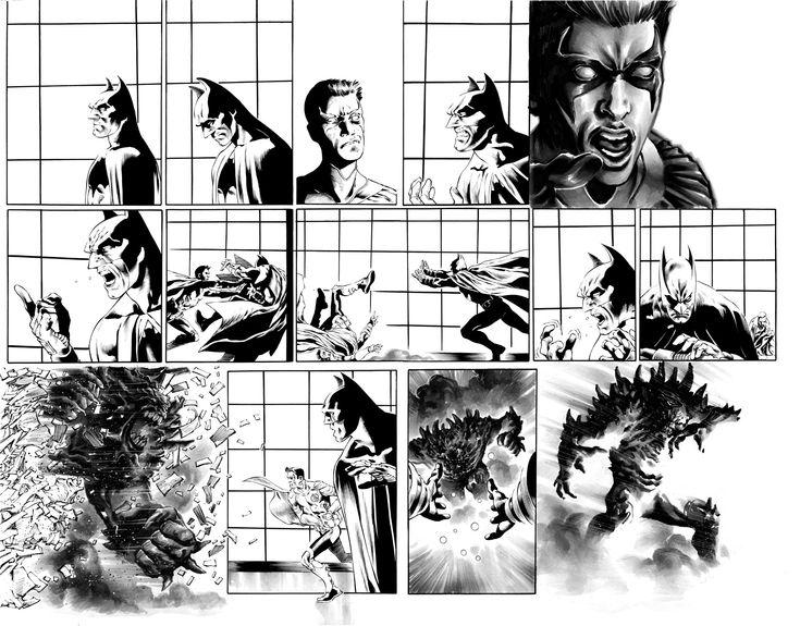 Detective Comics #966 page 14-15 DOUBLE SPREAD Barrows Ferreira BATMAN Red Robin vs DOOMSDAY  Comic Art