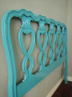 Oooooo, grab a neat headboard from a consignment store and repaint it in fun colors? Fabulous (and cheap) idea!!