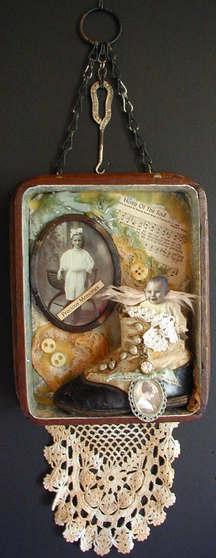 Original Art Shadow Box Victorian Altered art. $95.00, via Etsy.