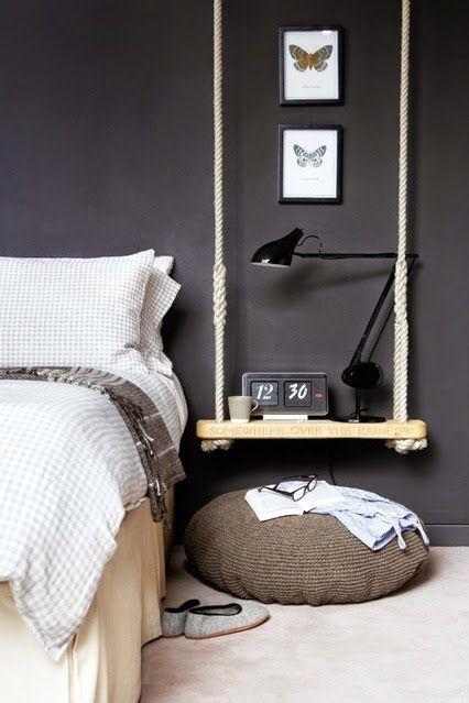 Swing shelf as side table in the bedroom  LOVE!