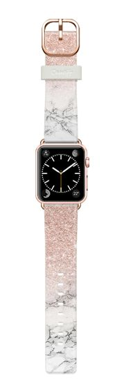 Casetify Apple Watch Band (38mm) Casetify Band -  Modern rose gold foil glitter ombre white marble color block by Girly Trend by Girly Trend #Casetify