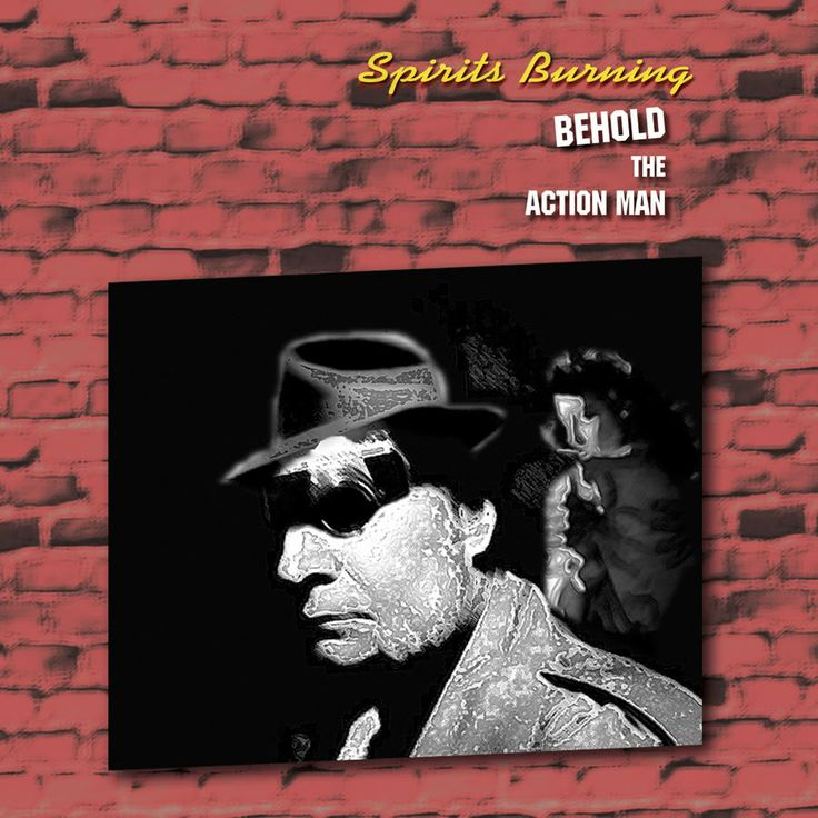 """Spirits Burning """"Behold The Action Man"""" CD (2010) Gonzo.  A Space Rock Journey into Film Noir investigated by Don Falcone and others: Daevid Allen (Gong), Al Bouchard (Blue Öyster Cult), Melodic Energy Commission, Hawkwind family members Alan Davey, Paul Hayles, & Bridget Wishart, Gitta Mackay (The Hornettes), The Upsidedown's Jsun Atoms & Bob Mild, members of Jefferson Starship, The Moor, Starfighters, and more ... Cover art: Karen Anderson"""