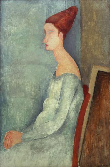 """Modigliani, Amedeo 1884-1920. """"Jeanne Hebuterne assise, de profil"""", (Bildnis der sitzenden Jeanne Hebuterne, im Profil), 1918. (Jeanne Hebuterne, ab 1917 Lebensgefährtin Modiglianis; gest. 1920). Öl auf Leinwand, 100 x 64,8 cm."""