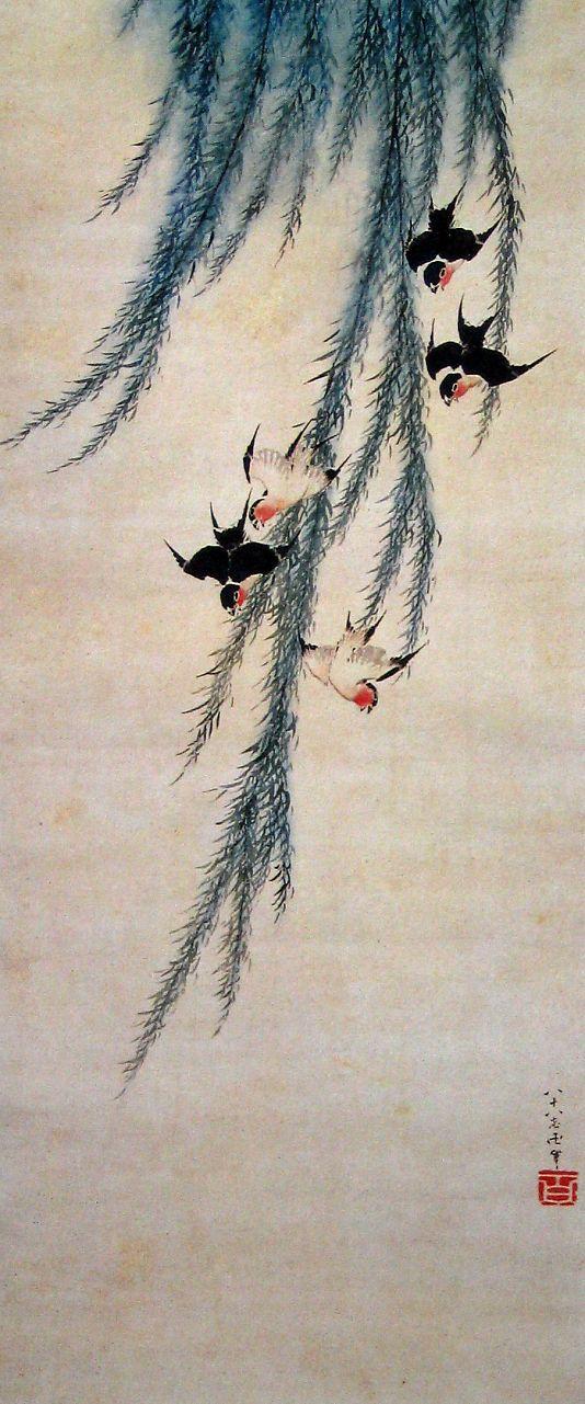Katsushika Hokusai(葛飾北斎 Japanese, 1760-1849)    Willow and swallows   柳に燕図